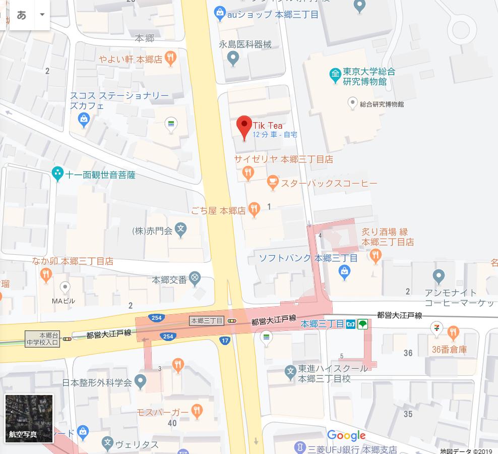 TikTeaの本郷三丁目店の地図