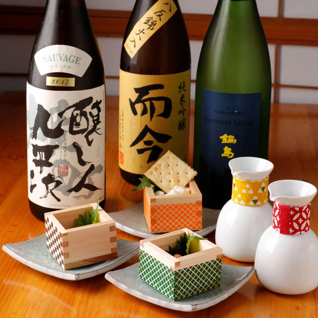 厳選された日本酒のメニュー